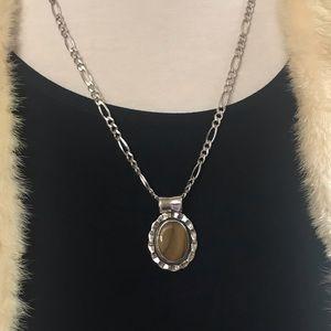 🇲🇽 MEX Silver 925 Brown Pendant w/Fígaro Chain!